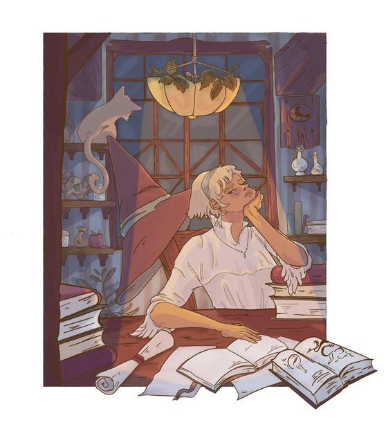 Mage Studying - Illustration