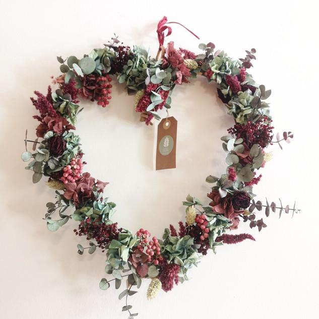 Coroa Coração- flores preservadas
