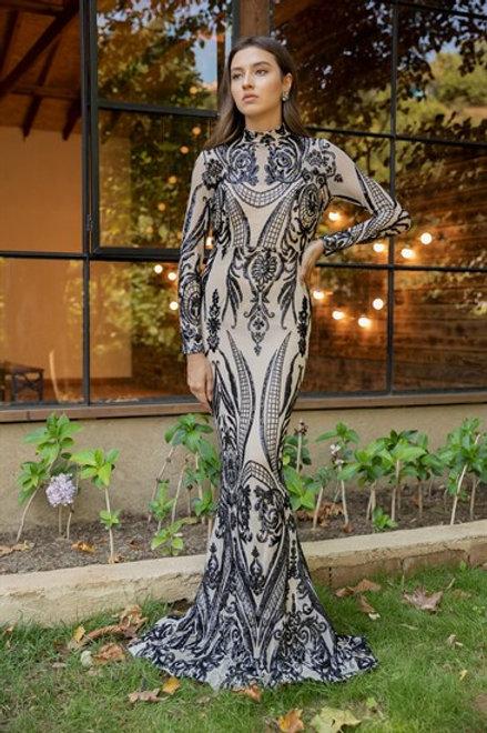 Sequined Fish Cut Evening Dress - BLACK