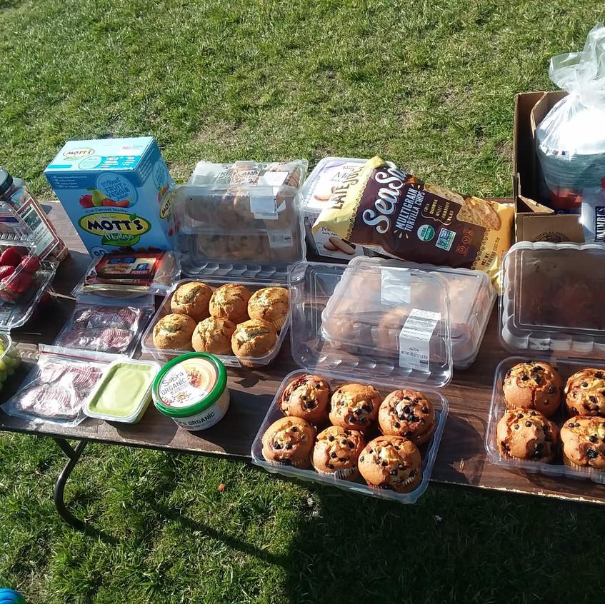 Plentiful snacks at the picnic