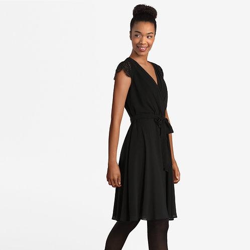 Black Midi Dress with Belt in Waist