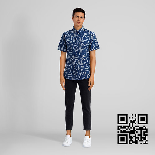 Feather Pattern Button Up