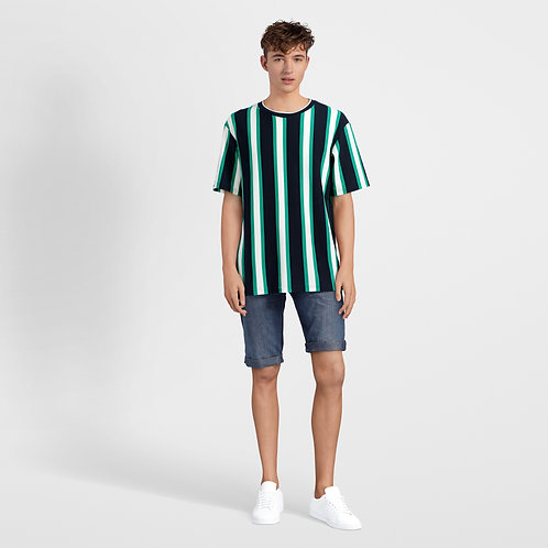Casual Raglan T-shirt with Vertical Stripes