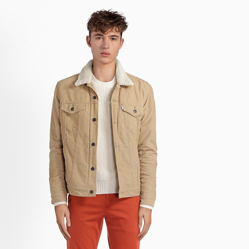 Beige Cord Jacket with Shearling Collar