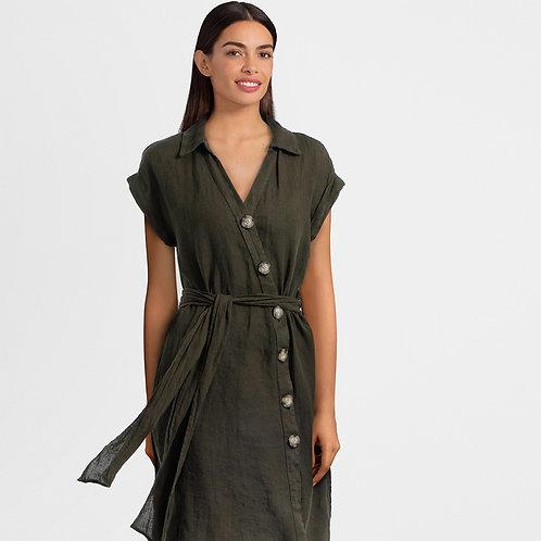 Olive Green Linen Dress
