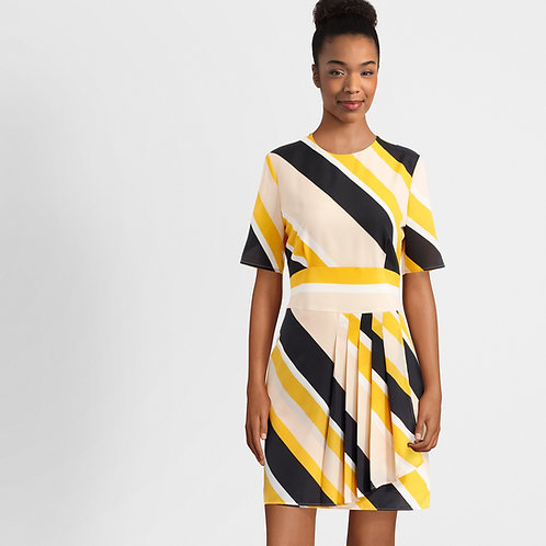 Yellow Stripe Print Dress