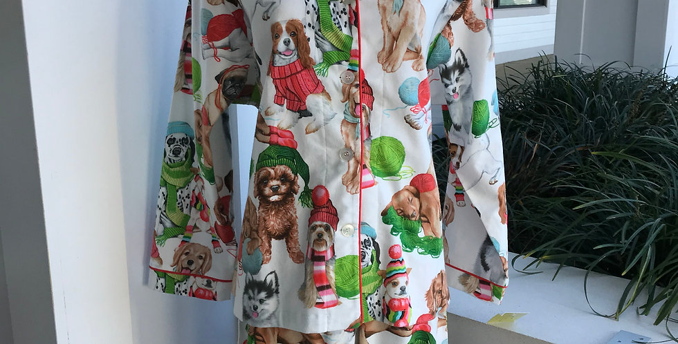 Pups In Knit Flannel Pajamas
