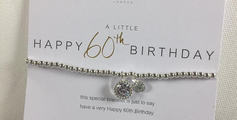 60th Birthday Silver Stretch Bracelet