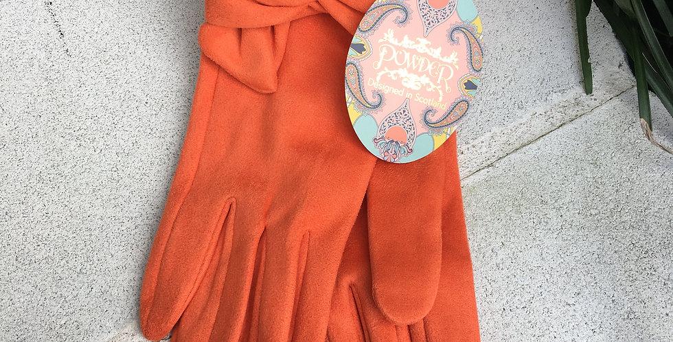 Orange Faux Suede Gloves