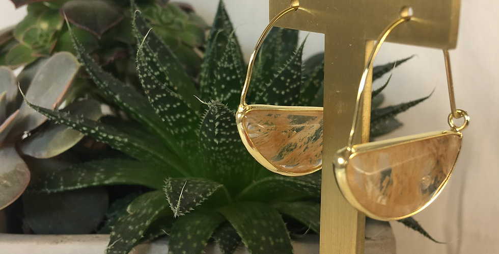 Stone Prism Citrone Gold Hoop Earrings