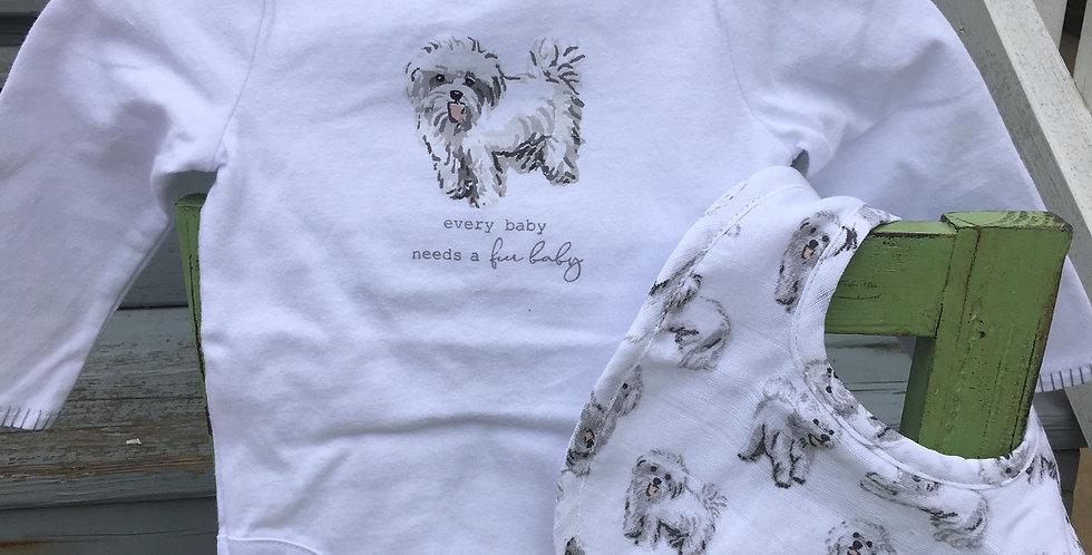 FURRY WHITE DOG CRAWLER & BIB SET