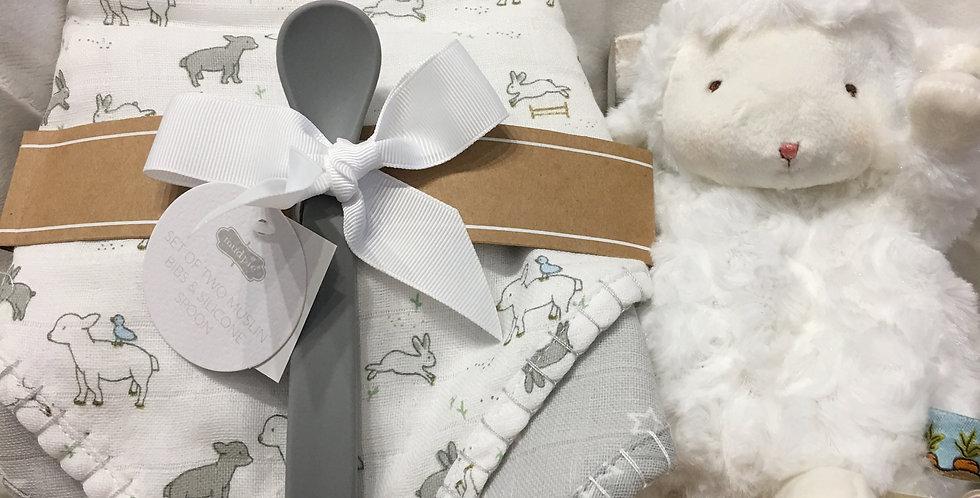 Little Lamb Muslin Bib & Spoon Set