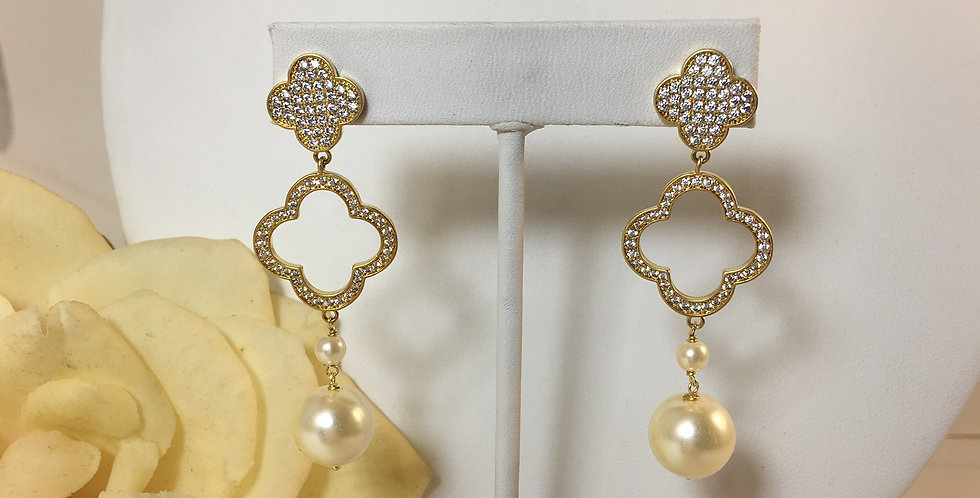 Clover Gold and Pearl Drop Earrings