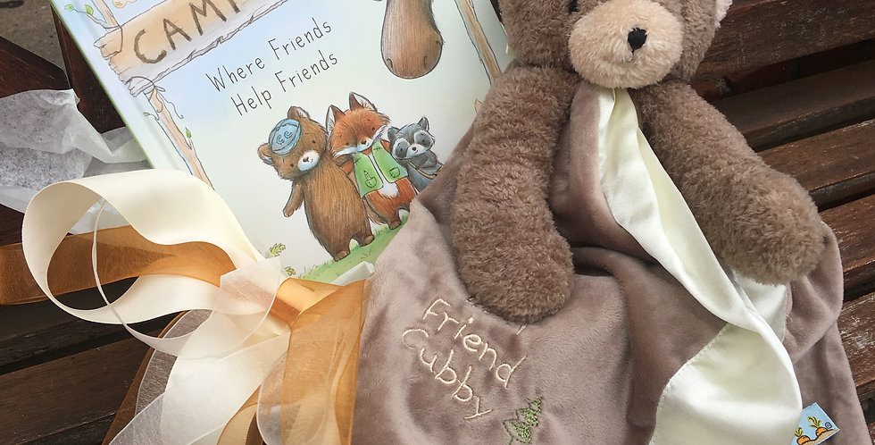 Cubby Buddy Soother Blanket and Camp Cricket Book