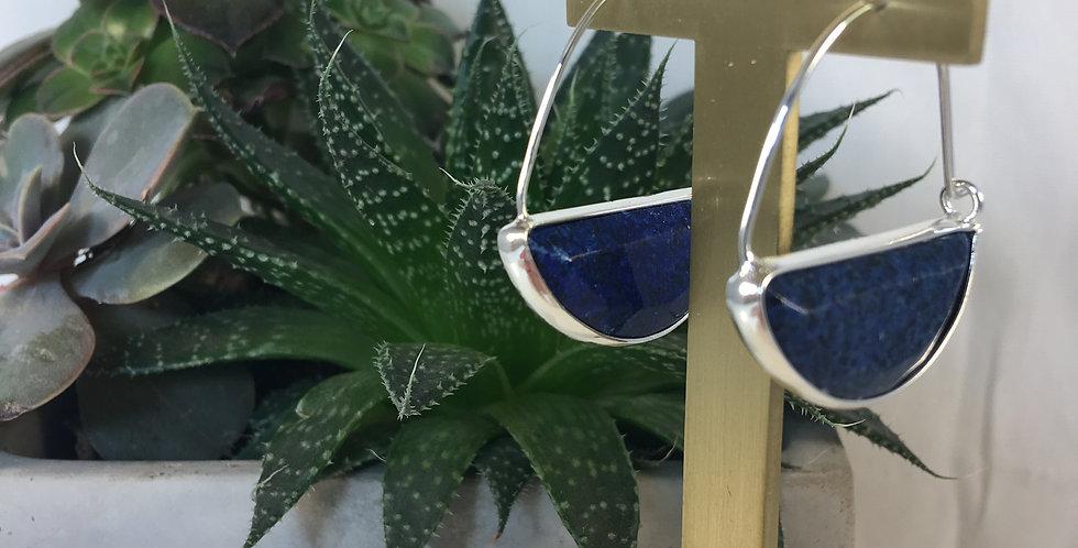 Stone Prism Hoop Lapis Silver Earrings