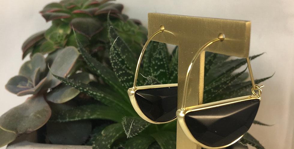 Stone Prism Hoop Black Spinel Gold Earrings
