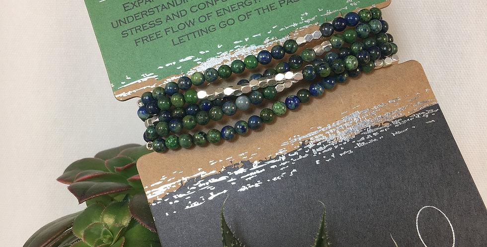 Stone Wrap Bracelet Necklace Azurite Silver