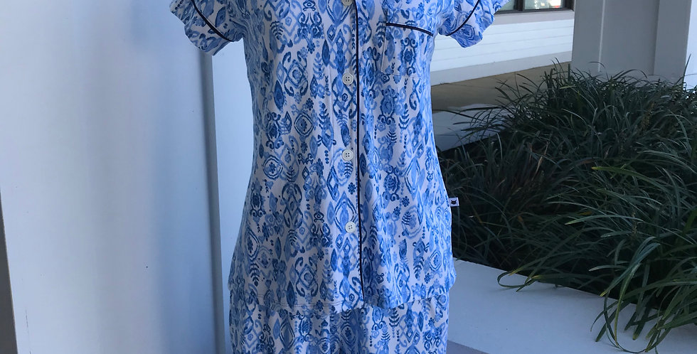 Floral Blue Capri Pajamas
