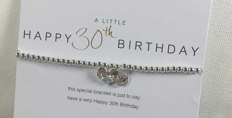 30th Birthday Silver Stretch Bracelet