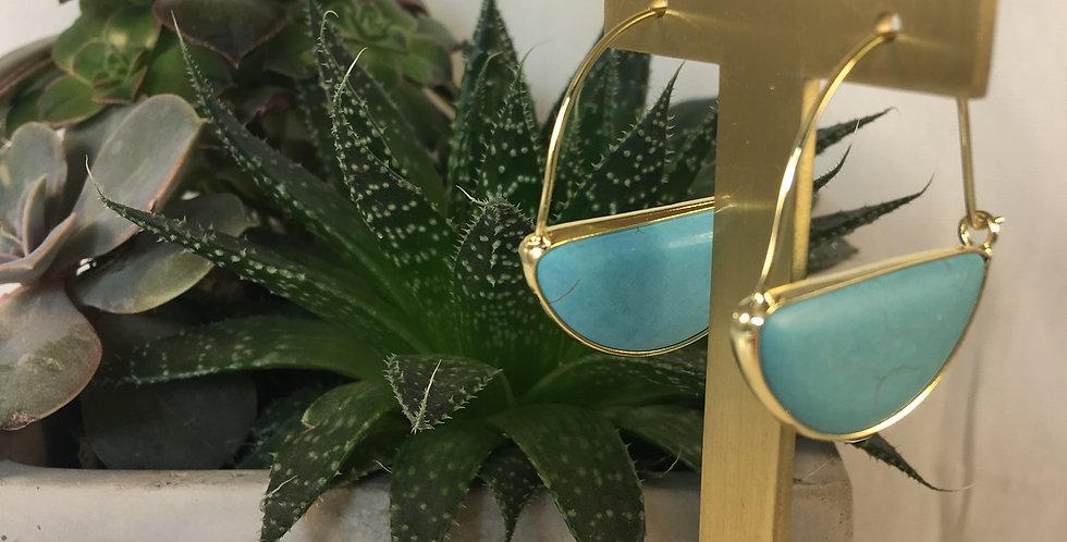 Stone Prism Hoop Turquoise Gold Earrings