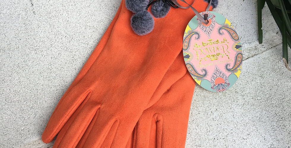 Orange and Grey Faux Suede Gloves
