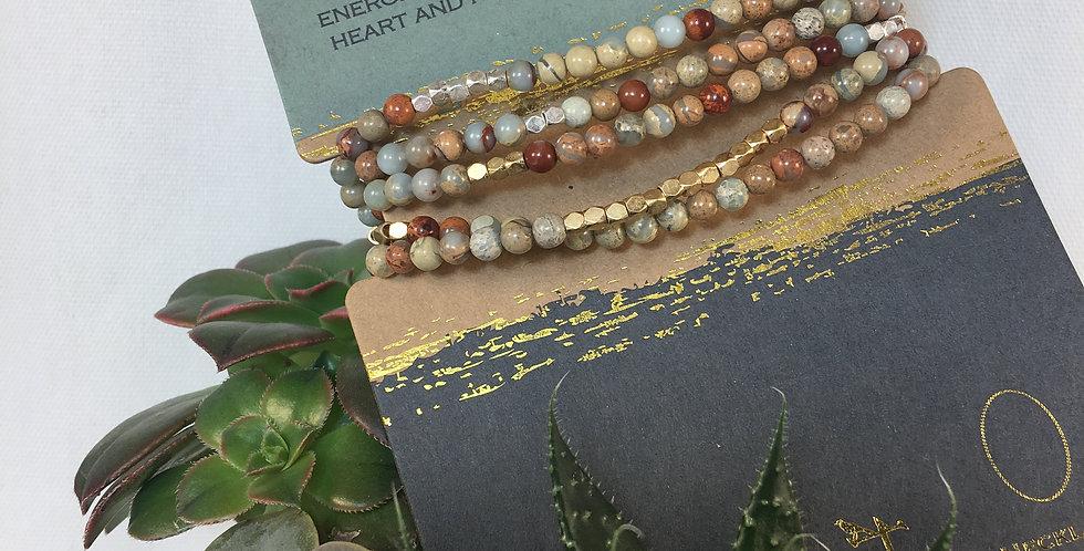 Stone Wrap Bracelet/Necklace Aqua Terra/Gold and Silver