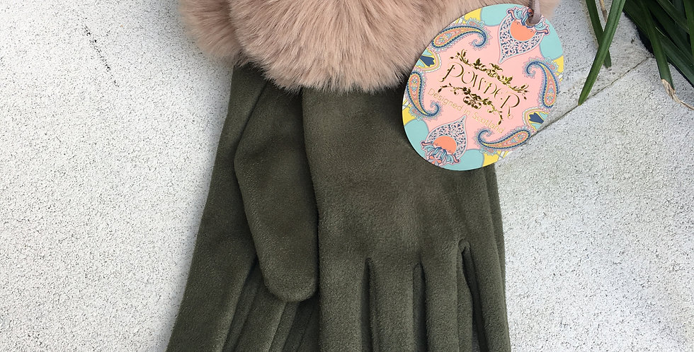 Olive Faux Suede Gloves