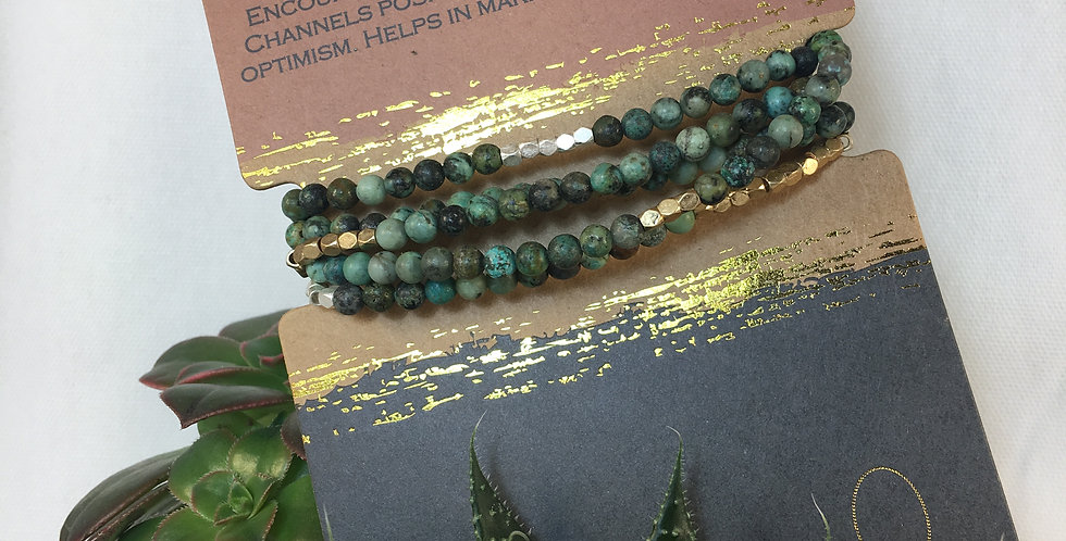 Stone Wrap Bracelet/Necklace African Turquoise