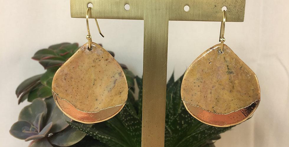 Petrified Wood Gold stone Dipped Teardrop Earrings