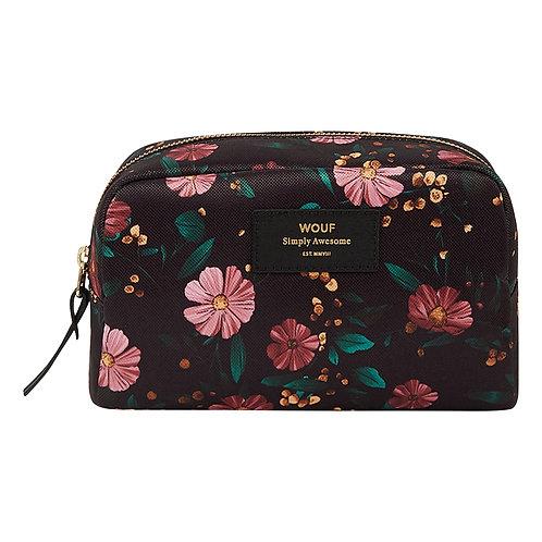 Make Up Bag Black Flowers - Wouf