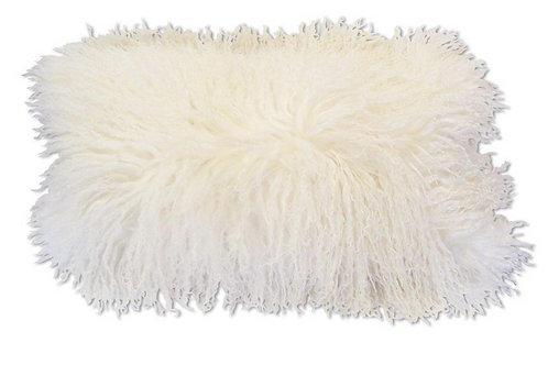 Coussin décoratif en fourrure d'agneau de Mongolie - blanc