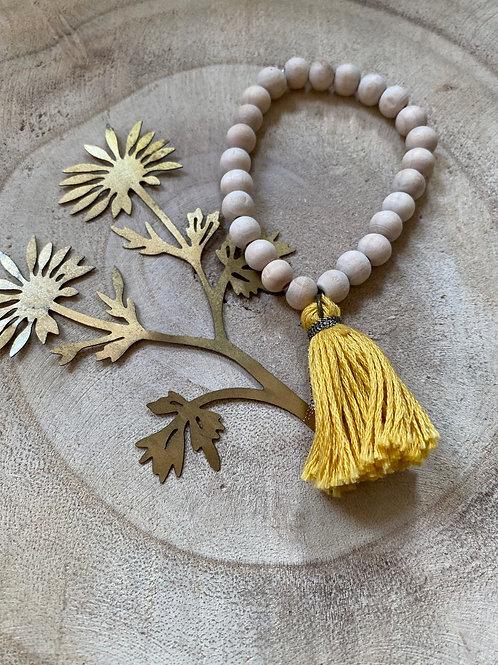Bracelet  Perle de bois Pompom  Jaune - Graines d'Anis