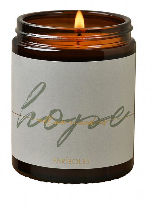 BOUGIE ALL WE NEED IS HOPE MUSC DES NEIGES 140G - FARIBOLES