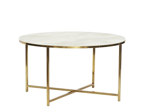 Table - métal/verre - blanc/laiton