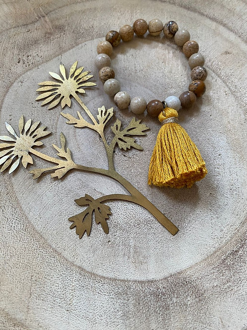 Bracelet  Perle de Jaspe Pompom  Moutarde - Graines d'Anis