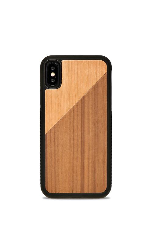 Coque en bois Iphone X/XS - Le Duo Foncé