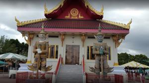 2 Yak's Stand in the front guarding the Temple
