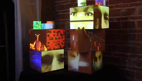 A stack of projection mapped boxes at The Zoo Studios