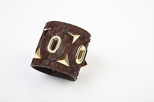 Dark Brown Snake Cuff with Gold accents