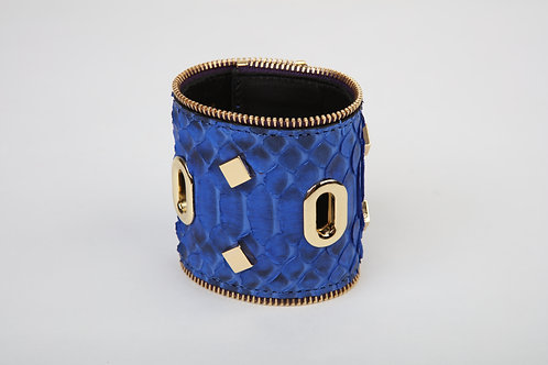 Blue Snake Cuff with Gold accents