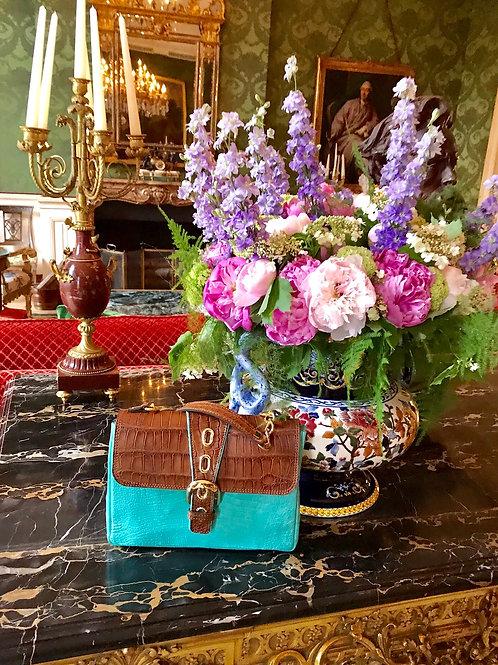 Turquoise and Brown Crocodile Handbag