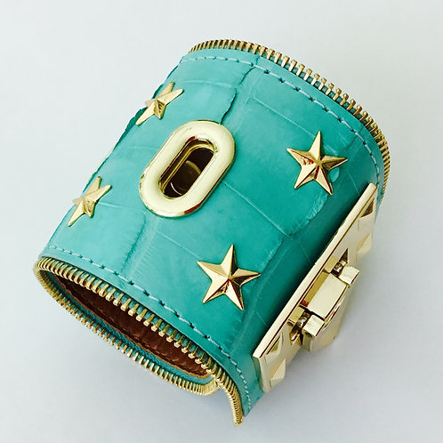 Teal Crocodile Cuff with Gold accents