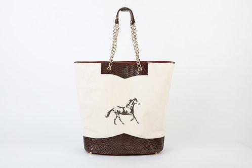 Canvas and Snake Tote Handbag