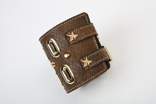 Brown Snake Cuff with Gold Accents