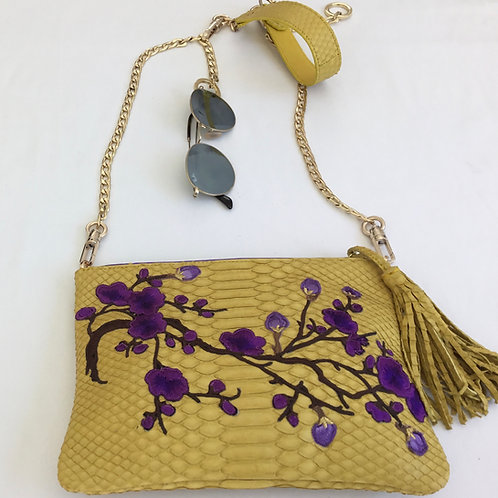 Yellow Snakeskin Handbag with Embroidery