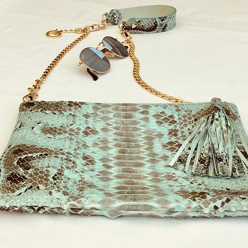 Teal snakeskin handbag