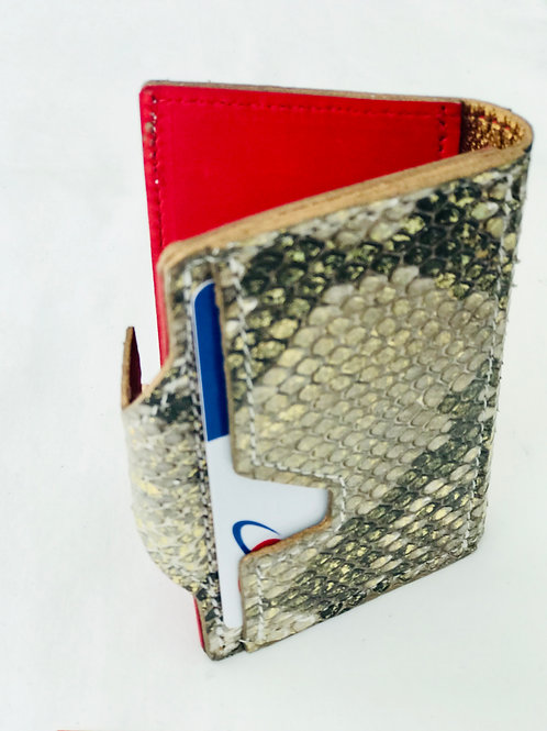 Gold Accent Snakeskin Wallet
