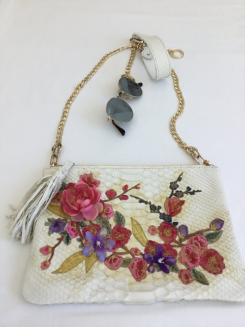 White Embroidered snakeskin handbag