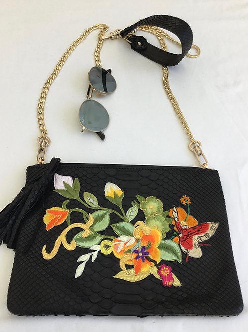Black embroidered snakeskin handbag