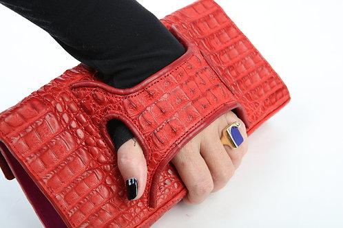 Red Crocodile Clutch Handbag